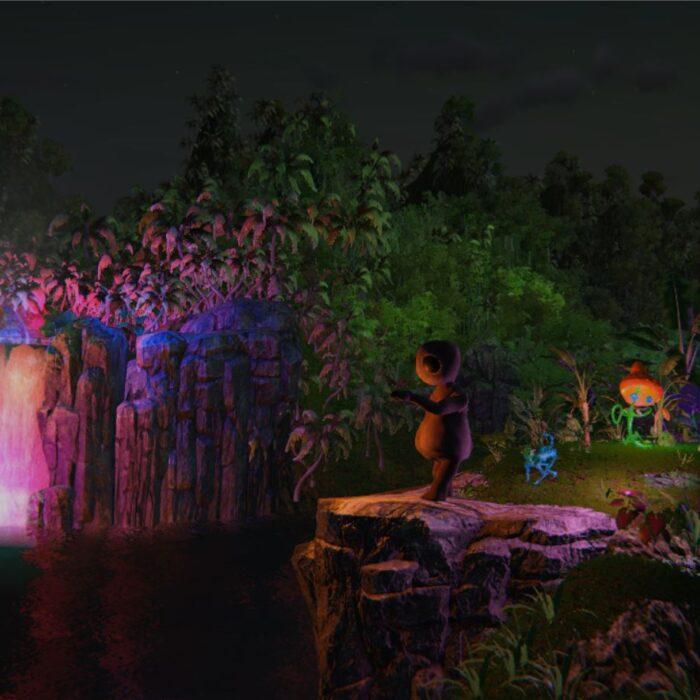Neon Waterfall Lagoon and Friends